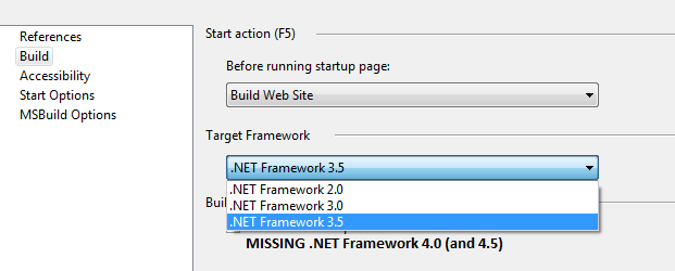 Visual studio does not display  NET 4 0 (or 4 5) framework option